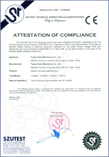 CE Certificate of Mobile Concrete Batching Plant