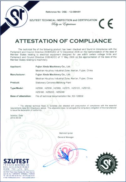 CE Certificate of Modular Concrete Batching Plant